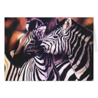 """Zebras at Sunset"" Greeting Card"