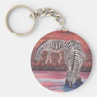 Zebras At Sunset keychain