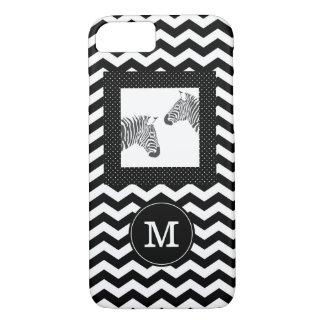 Zebras Black White Chevron and Polka Dots Monogram iPhone 8/7 Case