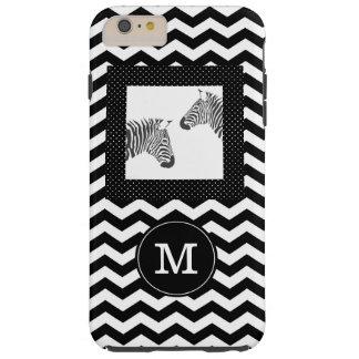 Zebras Black White Chevron and Polka Dots Monogram Tough iPhone 6 Plus Case