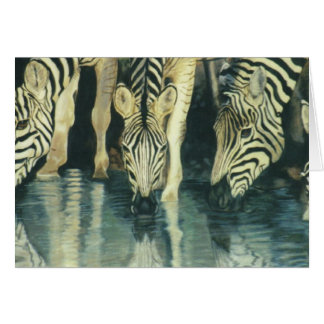 """Zebras Drinking"" Greeting Card"