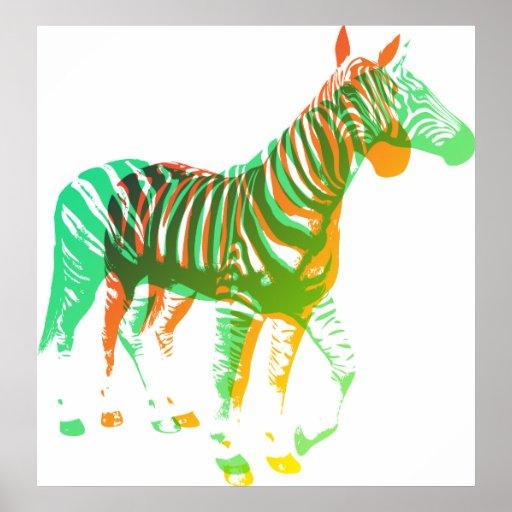 Zebras - Green & Orange Poster