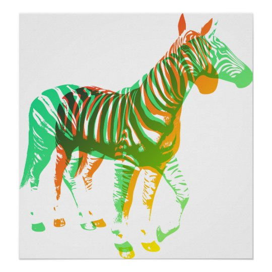 Zebras - Green & Orange Poster