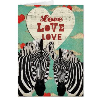 Zebras Heart Valentine Card