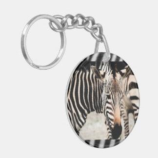 Zebras Double-Sided Round Acrylic Key Ring