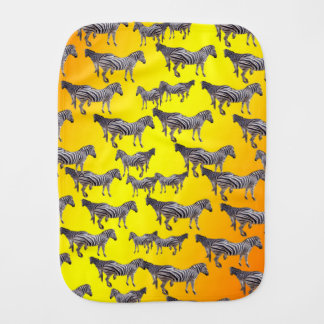 Zebras On A Golden Yellow Glow Background, Burp Cloth
