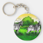 Zebras on the lookout keychains