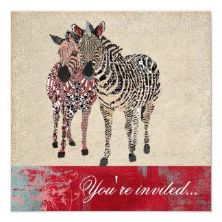 "Zebras Ornate Ivory & Grunge Damask Invitation 5.25"" Square Invitation Card"