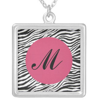 ZEBRAS PRINT-NECKLACE-MONOGRAMMED SILVER PLATED NECKLACE