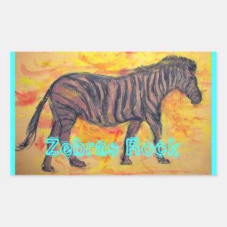 Zebras Rock Rectangular Sticker
