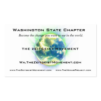 Zeitgeist Movement Globe Double-Sided Standard Business Cards (Pack Of 100)