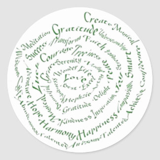 "Zen Art  ""Vibrate your Blessings"" Round Stickers"