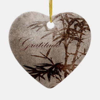 Zen Bamboo Gratitude Ceramic Heart Decoration