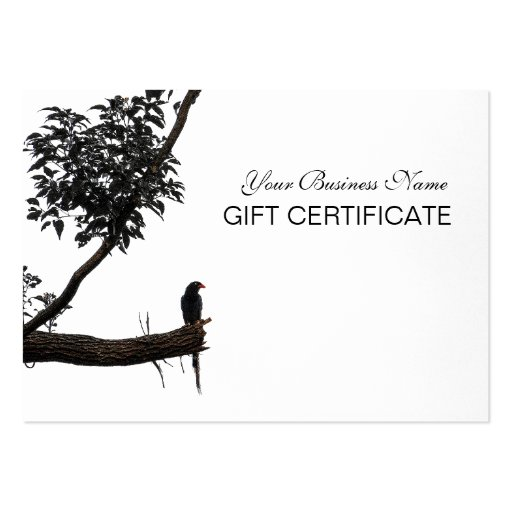 Zen Bird Oriental Zen Photography Gift Certificate Business Cards
