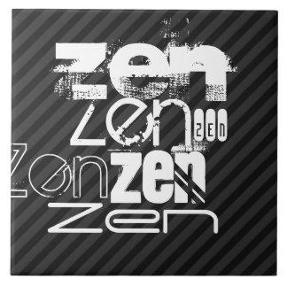 Zen; Black & Dark Gray Stripes Large Square Tile
