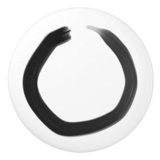Zen Buddhist Enso Circle Ceramic Knob