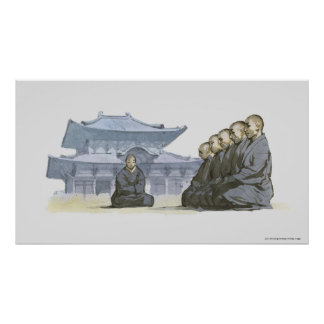 Zen Buddhist monks kneeling outside temple Poster