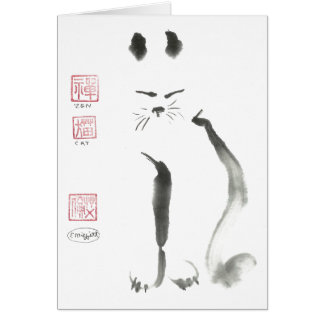 Zen Cat Meditation -  Sumi-e [ink painting] Card