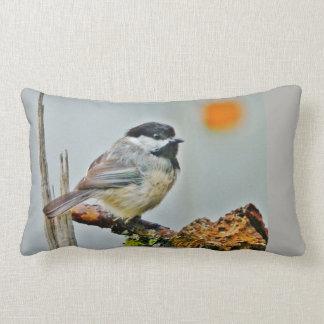 ZEN Chickadee with Sepia Floral Still-life Lumbar Cushion