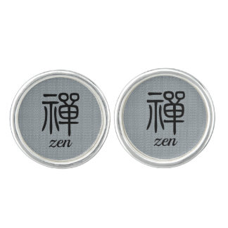 Zen Chinese calligraphy blue Cufflinks