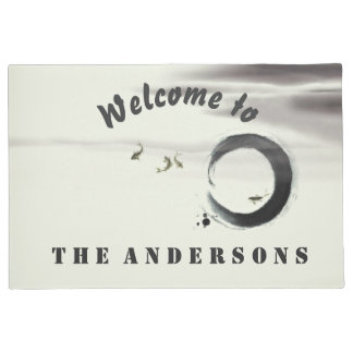 Zen Circle Enso Koi Brush Painting Custom Welcome Doormat
