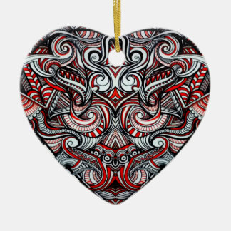 Zen Doodle Abstract Heart Shaped Red White Black Ceramic Heart Decoration