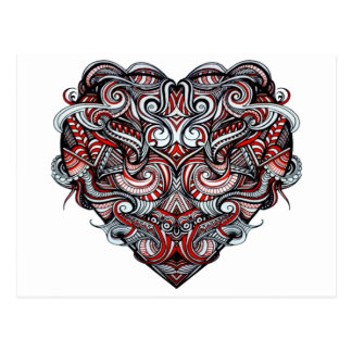 Zen Doodle Abstract Heart Shaped Red White Black Postcard