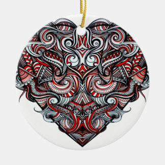 Zen Doodle Abstract Heart Shaped Red White Black Round Ceramic Decoration