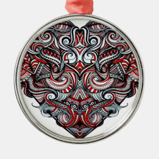 Zen Doodle Abstract Heart Shaped Red White Black Silver-Colored Round Decoration