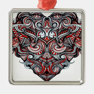 Zen Doodle Abstract Heart Shaped Red White Black Silver-Colored Square Decoration