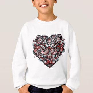 Zen Doodle Abstract Heart Shaped Red White Black Sweatshirt