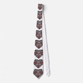 Zen Doodle Abstract Heart Shaped Red White Black Tie