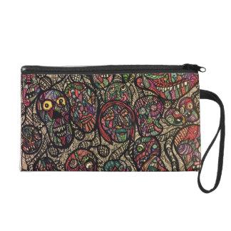 Zen doodle colorful zombies wristlet purse