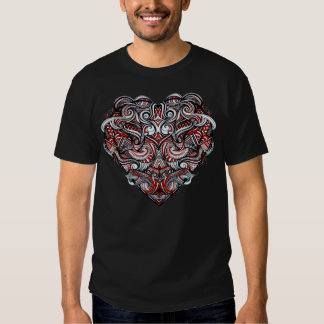 Zen Doodle Heart Shape Red, White, Black Abstract Tshirts