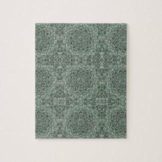 Zen Doodle Zen Tangle Tribal Ornate Detail Green Jigsaw Puzzle