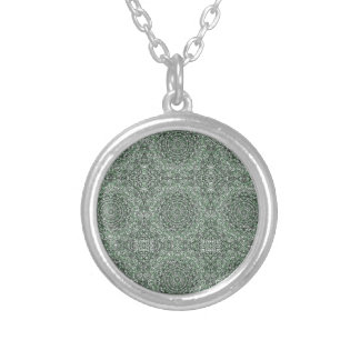 Zen Doodle Zen Tangle Tribal Ornate Detail Green Silver Plated Necklace