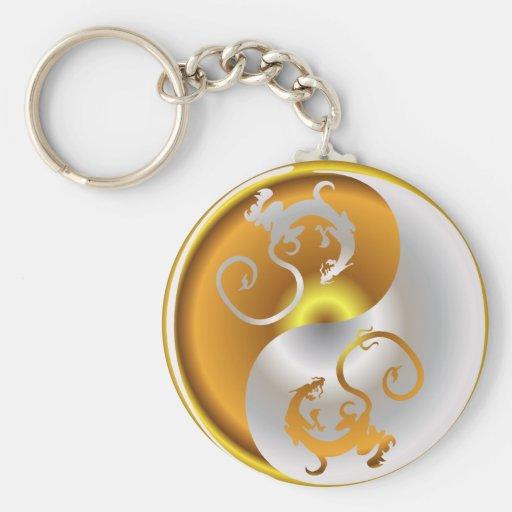 Zen Dragons Basic Round Button Key Ring