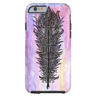 Zen Feather Design w/ Watercolor Backdrop Tough iPhone 6 Case