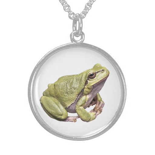 Zen Frog Sterling Silver Round Necklace White