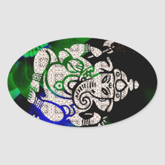 Zen Ganesh Oval Sticker