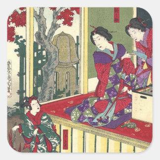 zen garden fall maple tree kimono japanese geisha square sticker