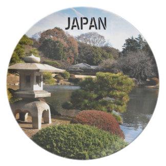 Zen garden in Tokyo, Japan Plate