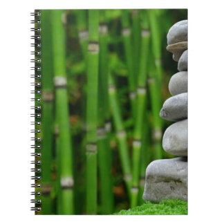 Zen Garden Meditation Monk Stones Bamboo Rest Spiral Notebook