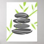 Zen garden pebble stone stacking and bamboo poster