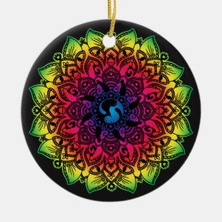 Zen Henna Mandala Hippy Cat Ceramic Ornament