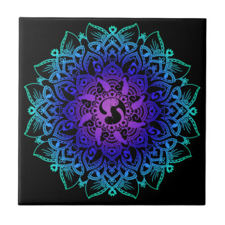 Zen Henna Mandala Hippy Cat Teapot Rest Ceramic Tile
