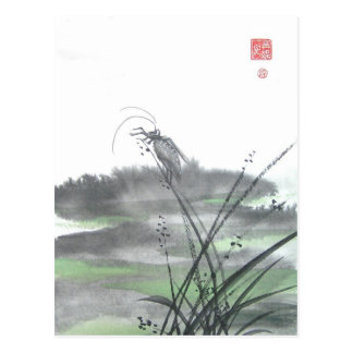 Zen Insect on Grass Postcard