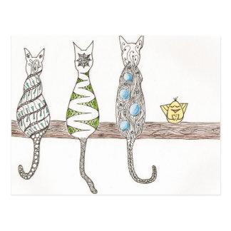 Zen Kitties - Doodle ZIA Cats Postcard