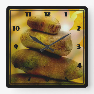 Zen meditation stones square wall clock