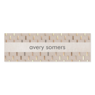 Zen Minimalist Striped Faux Beige Linen and Gold Pack Of Skinny Business Cards